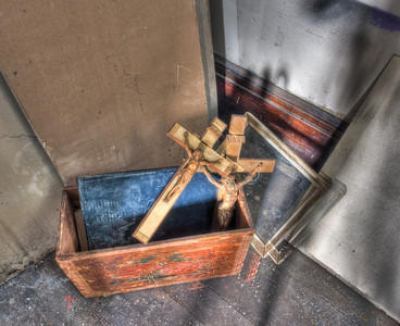 Abandoned religion in a box. You cant keep a good man down.