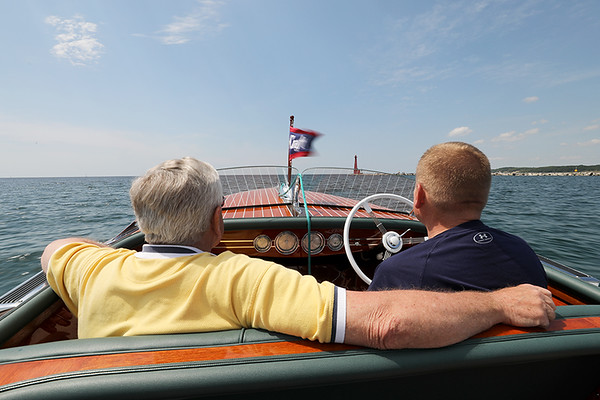 David and Paul De Horn, Muskegon Lake, Michigan, Rumour, 1941 Chris Craft 17ft. Deluxe Barrelback Runabout
