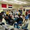 Runners gathering in the Grafton High School cafeteria before the race.