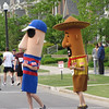Two of the Milwaukee Brewers Sausage Races stars - Hot Dog and Chorizo