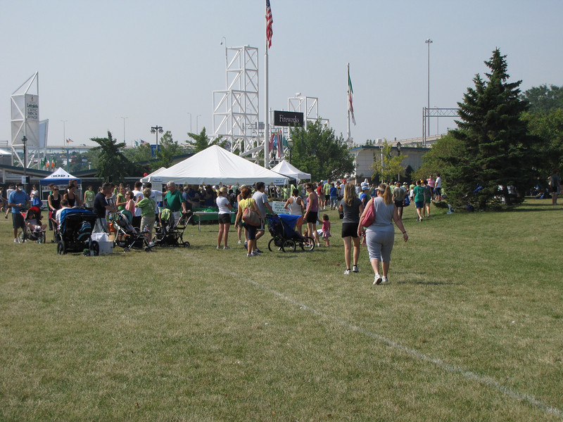 Runners and walkers gathering during pre-race