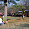Buses that brought most of the runners to the start line