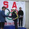 Race Director Chris Ponteri congratulating women's half marathon winner Stacey Kincaid