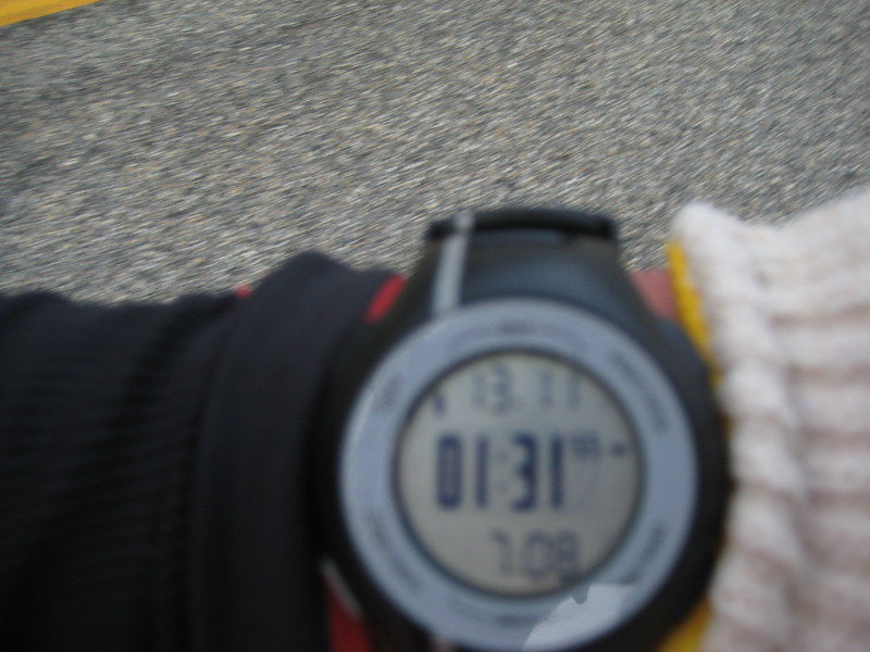 Fast course?  You betcha!  The first half of the race is screaming downhill fast.  This is a quick shot of Webmaster Mary's watch showing her half marathon time - a half marathon PR during a marathon!