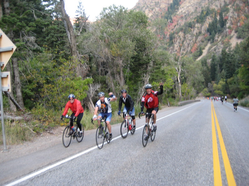 Big Cottonwood Canyon - these guys were going up while the runners were headed down the canyon  - taken by Mary during the race