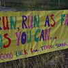 Kids from the Tendoy School created posters for the marathoners.