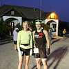"""Webmaster Mary and Boston Qualifier hopeful Joey Heinrichs prior to the marathon start in front of the """"one room"""" Tendoy School."""