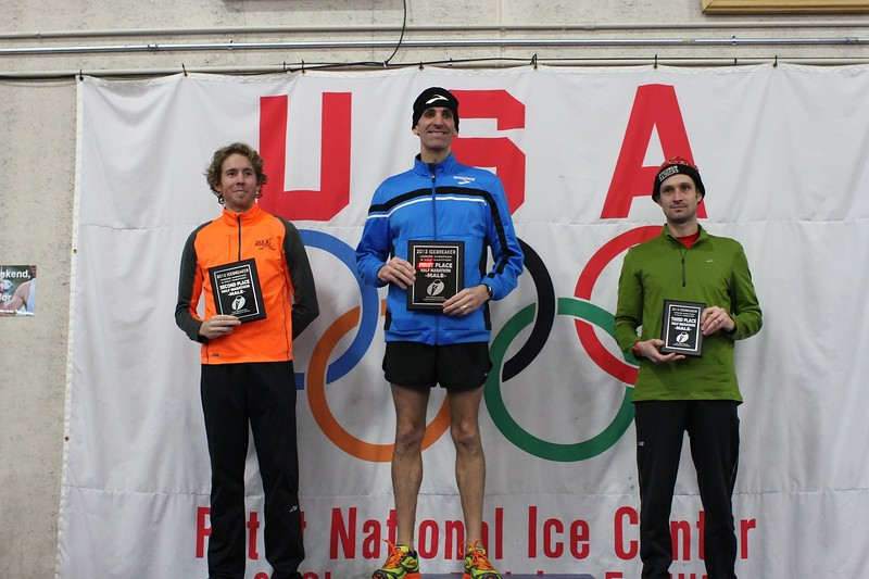 Top three men - Half Marathon<br /> l-r: Michael Cauley (2nd place), Rob Wiley (1st place), Ryan Gill (3rd place)
