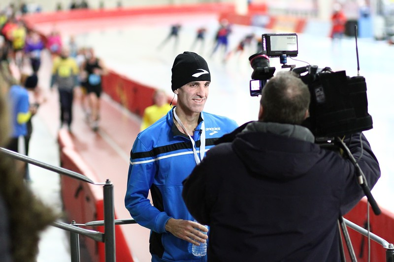 Half Marathon Winner<br /> Rob Wiley  doing a live TV interview shortly after winning
