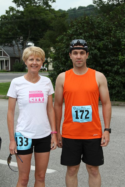 Webmaster Mary and our friend Joey before the start of their marathon in their 34th state