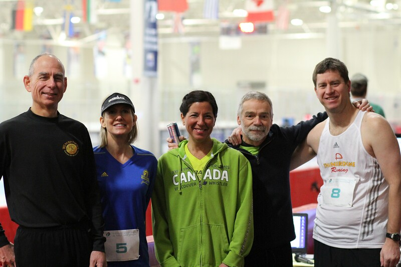 """Marathon: The Streakers (they have done all seven Icebreaker Indoor Marathons).<br /> From l-r: Robb Linnemanstons, Heather Kos, Michelle Tanem, Dennis Hanna, Bill Schneider<br /> <br /> Feel free to tag yourself or friends. See and share more photos: <a href=""""http://smu.gs/1Juw4C1"""">http://smu.gs/1Juw4C1</a>"""