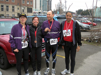 Kim, Shelley, Barry, Phil Completion of the Around The Bay 30K Race - Hamilton, Ontario - March 2007.