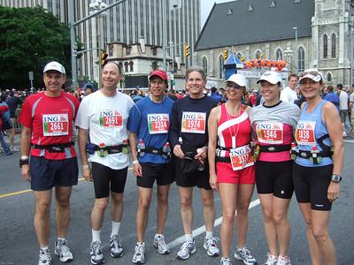 Before the start of the Ottawa Marathon - May 2007 George, Barry, Marc, John, Karin, Tracy, Patt