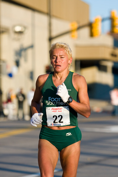 Tetyana Byelovol of Ukraine, female overall winner of the 2008 Detroit Free Press Marathon