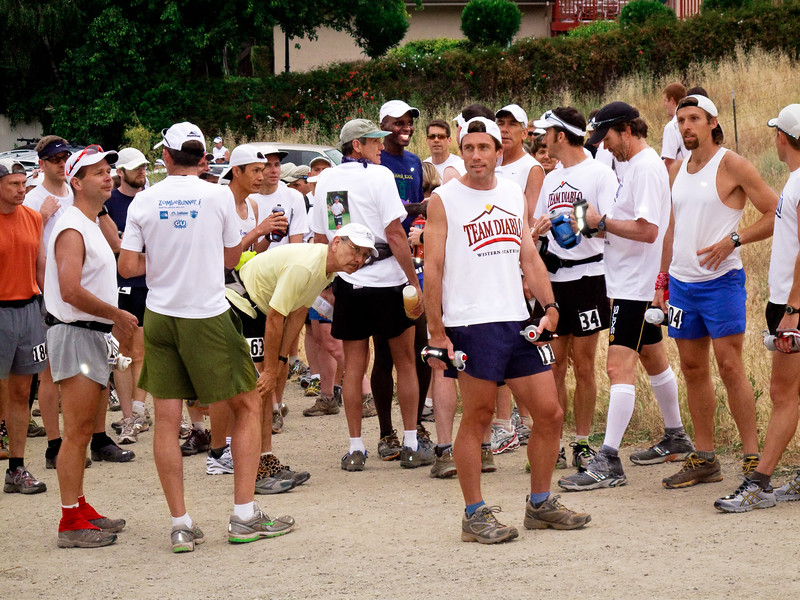 The runners gather for the start of the race.