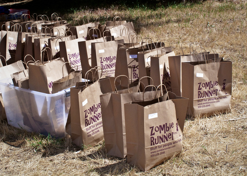 Don and Gillian's ZombieRunner was one of the sponsers of the race. Here we see our ZombieRunner goody bags.