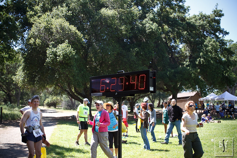 Shalimar took this picture to record when she arrived at the finish at Del Valle Regional Park in Livermore. I guess she figured there was no chance I would finish in less than six and a half hours! ;-)