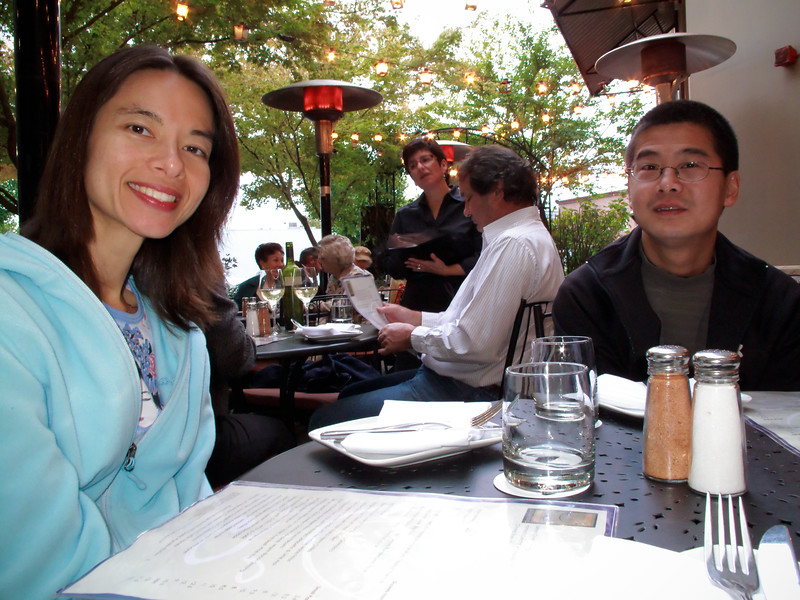 Shalimar and Greg looking over the menu.