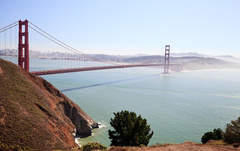 The Golden Gate Bridge as seen from the Marin Headlands.