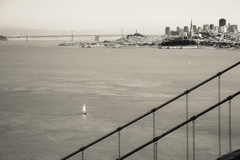 The San Francisco Bay, sailboat, Bay Bridge, San Francisco skyline, and the Golden Gate Bridge.