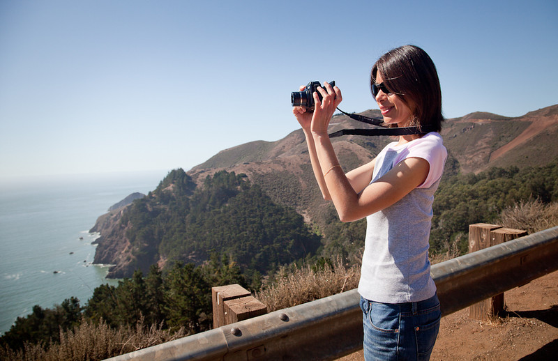 Shalimar shooting the Golden Gate Bridge with a Canon Powershot G11.
