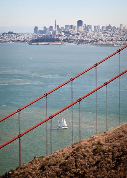 Sailboat, skyline, Golden Gate Bridge.