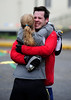 Women's 50K winner Kristin Ohm-Pedersen gives pal Ryne Melcher a bear hug at the finish line. The only problem was that Melcher's cracked ribs were not quite ready for that much affection!