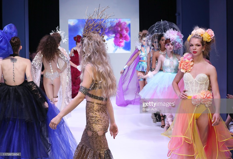 NEW YORK, NEW YORK - SEPTEMBER 06: Models walk the runway wearing The Magical World of Laura Marino NYFW Powered By hiTechMODA on September 06, 2019 in New York City. (Photo by Brian Ach/Getty Images for hiTechMODA)