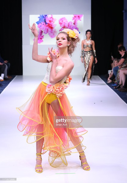 NEW YORK, NEW YORK - SEPTEMBER 06: A model walks the runway wearing The Magical World of Laura Marino NYFW Powered By hiTechMODA on September 06, 2019 in New York City. (Photo by Brian Ach/Getty Images for hiTechMODA)