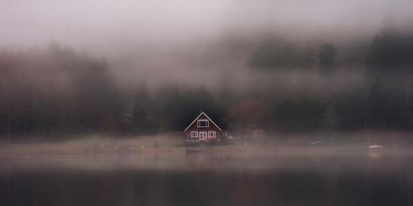 Morning Fog, Lake Leland near Quilcene, Washington