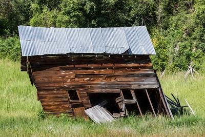 Leaning farm structure near Twisp, Washington