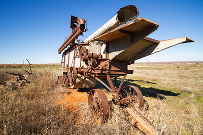 Farm equipment in rural Texas