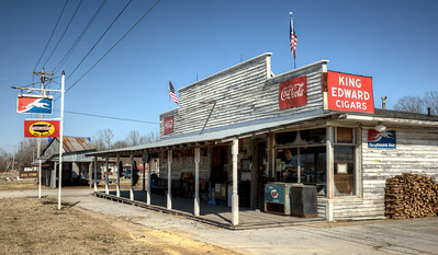 One of the last of a dying breed for old time general stores.  This one in Ethridge, TN still serves as a Greyhound and Trailways bus stop.