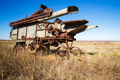 Abandoned farm equipment in rural Texas