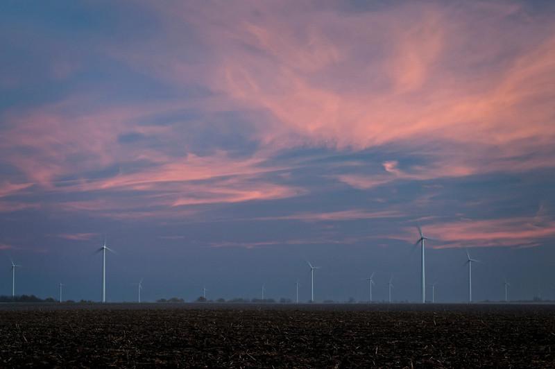 IN 011                             Sunset on a wind turbine farm near Earl Park in Benton County, Indiana.