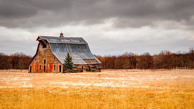 Lonely Barn on the Prairie
