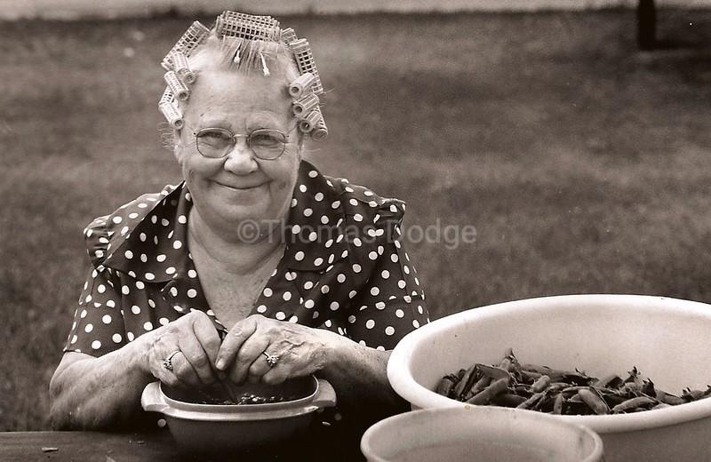 Grandma Minnie Shucking Peas, Truman, MN 1978