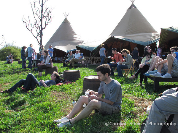 The Community Farm Open Day April 9th 2011 - relaxing at the Tipis