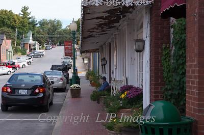 Sidewalk along Main Street in Weston, Missouri