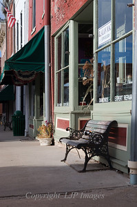 Bench in front of a shop in Weston, Missouri