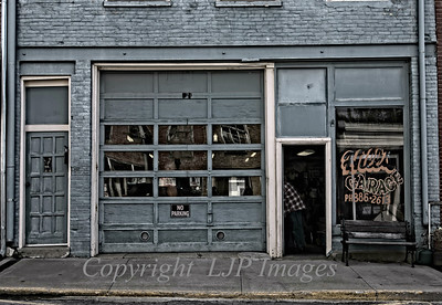 Hill's Garage storefront on Main Street in Weston, Missouri.