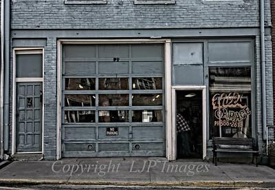Hill's Garage storefront on Main Street in Weston, Missouri.