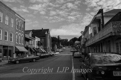 Black and white street view of Main Street in Weston, Missouri