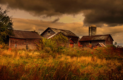 Old barns in a stormy day, Upstate New York