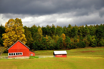 The Red Barn at a Rural Farm in Upstate New York.