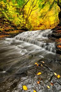 Vertical composition of Fillmore Glen waterfalls, Finger Lakes.