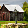 Old Water pump and wooden barn, Saratoga County, New York