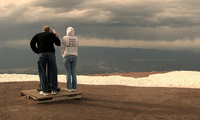 On the top Pikes Peak  Colorado elevation 14110 ft.