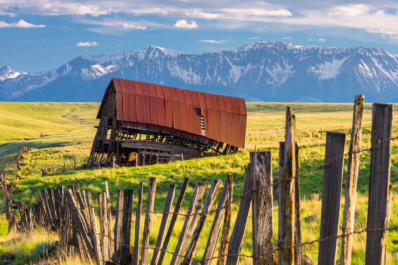 Leaning Old Barn and Mountains