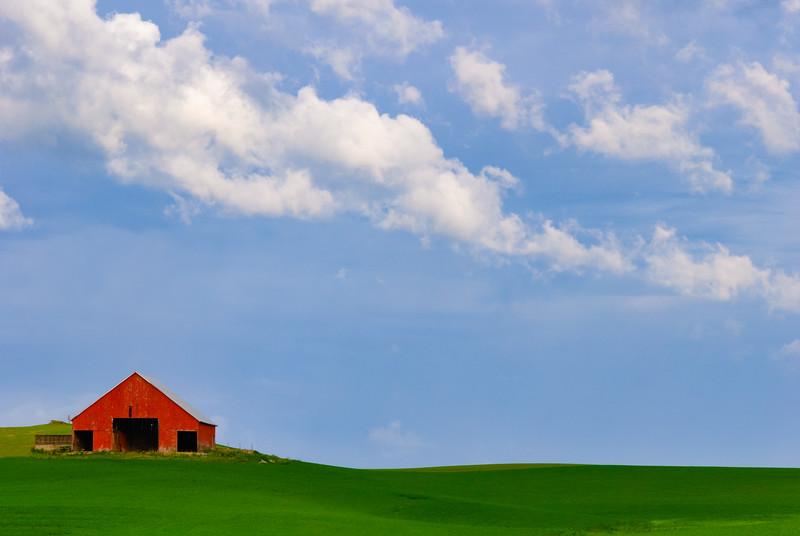 Red Barn and Clouds